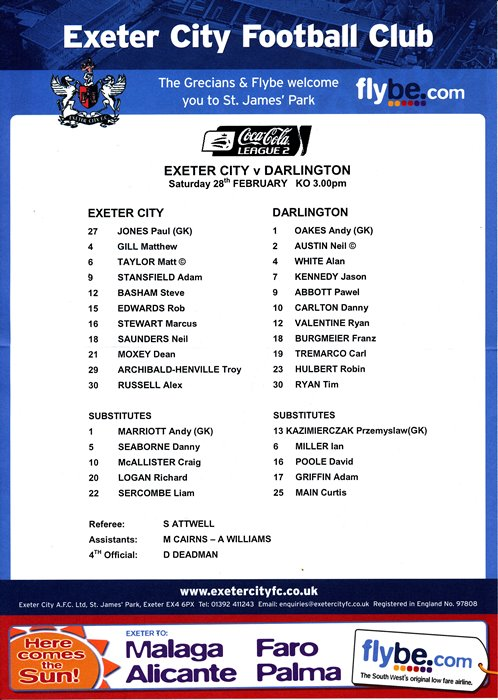 exeter_darlington_teamsheet280209