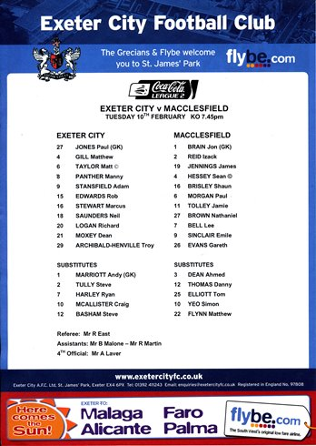 exeter_macclesfield_teamsheet_100209