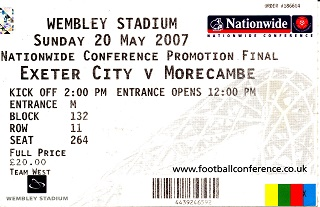 exeter morecambe conference play off final ticket 200507